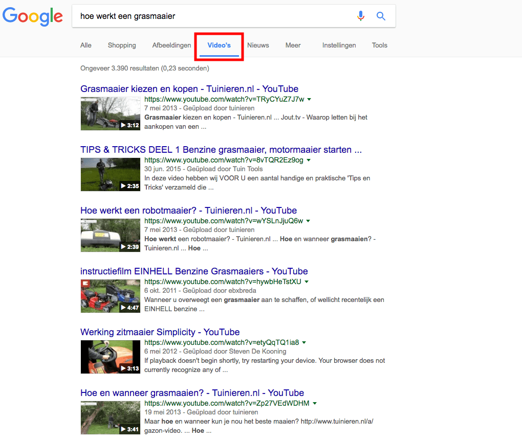 Screenshot - Videoresultaten Google [Zo scoort je video in Google, SEO voor video