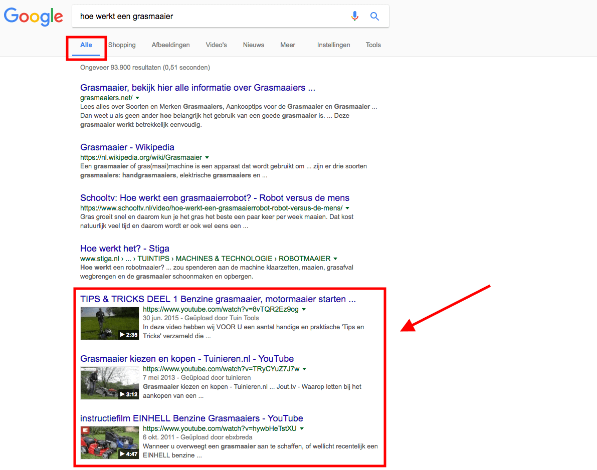 Screenshot - Alle resultaten Google [Zo scoort je video in Google, SEO voor video