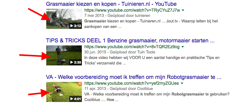 Screenshot - Thumbnails in Google resultaten [Zo scoort je video in Google, SEO voor video